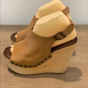Auth Jeffery Campbell leather wedges sandals 8.5